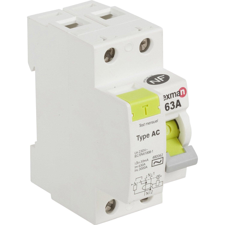 Interrupteur diff rentiel lexman 30 ma 63 a ac leroy merlin - Differentiel type a ou ac ...