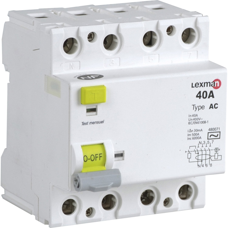 interrupteur diffrentiel triphas lexman 30 ma 40 a ac - Disjoncteur Differentiel Pour Salle De Bain