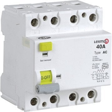 Interrupteur différentiel triphasé LEXMAN, 30 mA 40 A AC