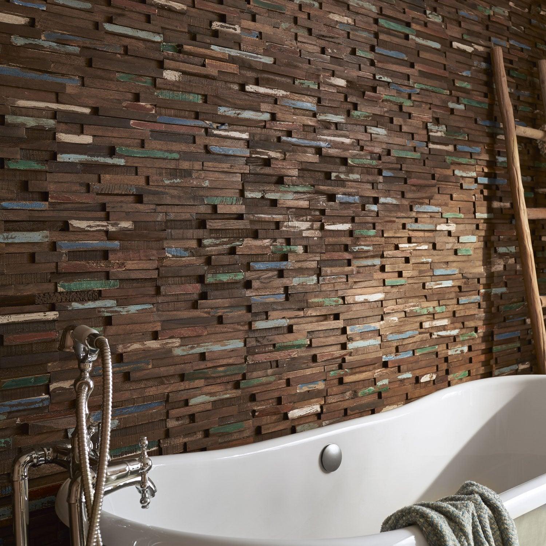 Plaquette de parement bois recyclé marron Gipsy
