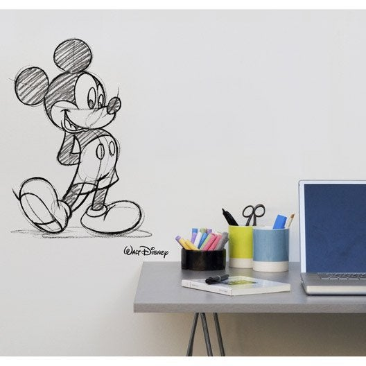 sticker mickey transfert 49 cm x 69 cm leroy merlin. Black Bedroom Furniture Sets. Home Design Ideas