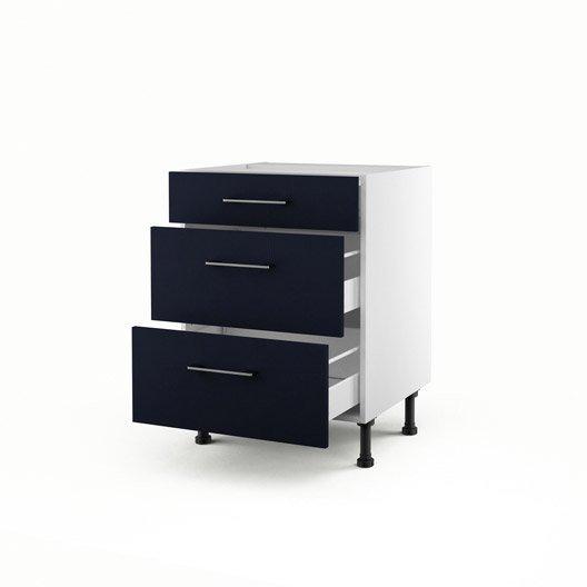 Meuble de cuisine bas bleu 3 tiroirs topaze x x for Meuble cuisine hauteur 70 cm