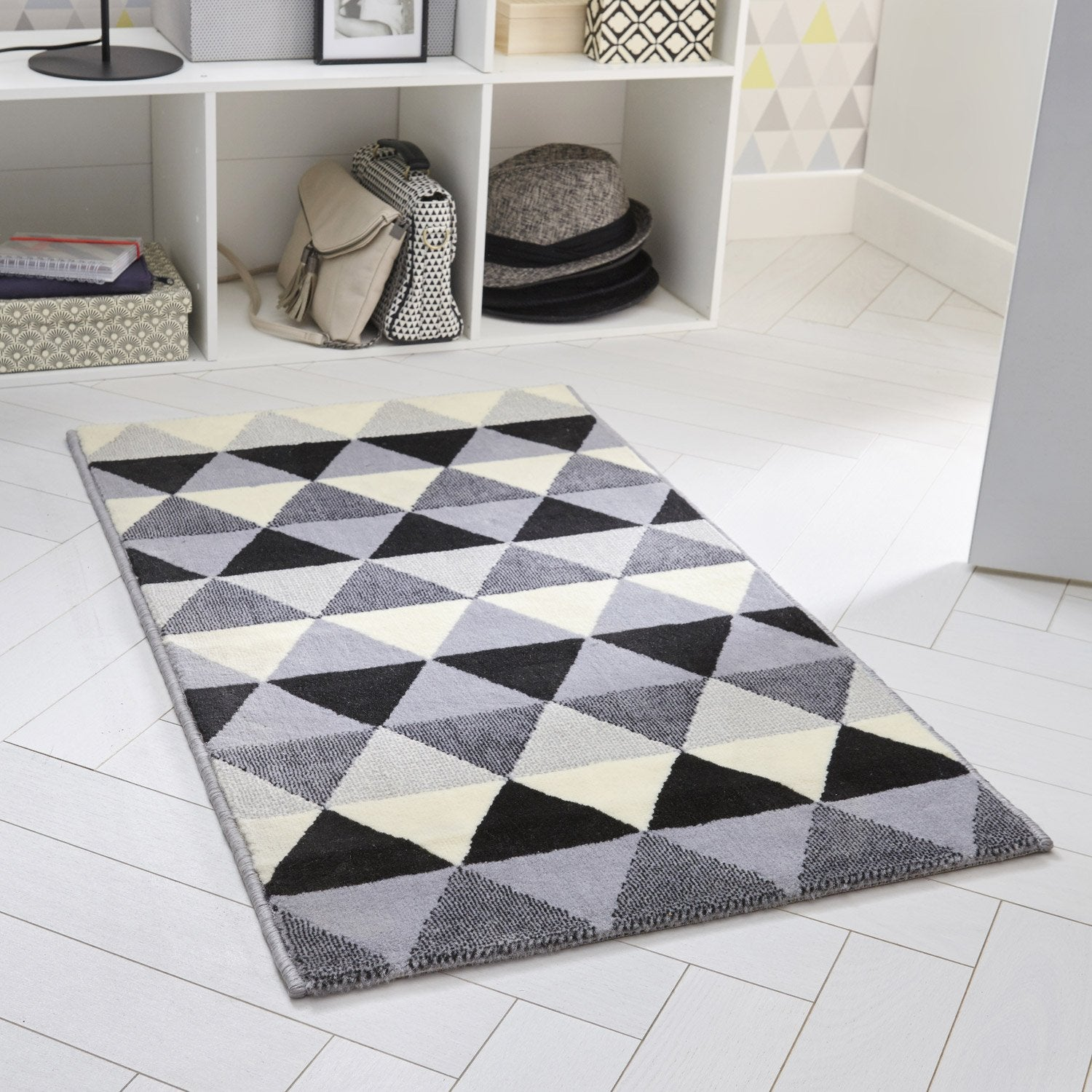 Tapis multicouleur rectangulaire, l.160 x L.220 cm Chinease triangle