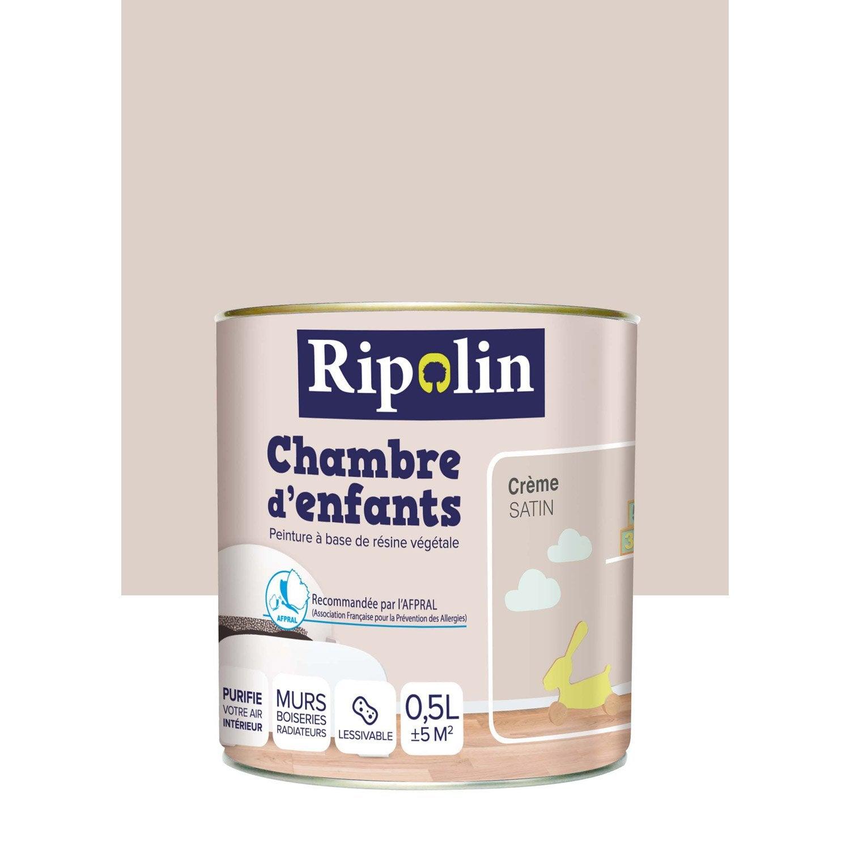 Peinture beige cr me satin ripolin chambre enfants 0 5 l leroy merlin - Peinture vert d eau ...