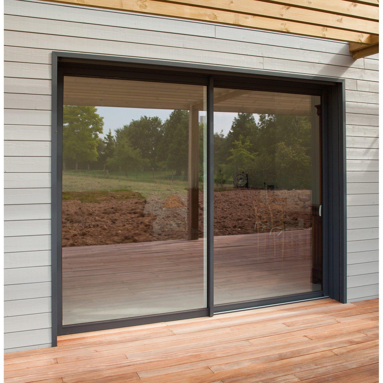baie vitr e aluminium gris brico premium x cm leroy merlin. Black Bedroom Furniture Sets. Home Design Ideas