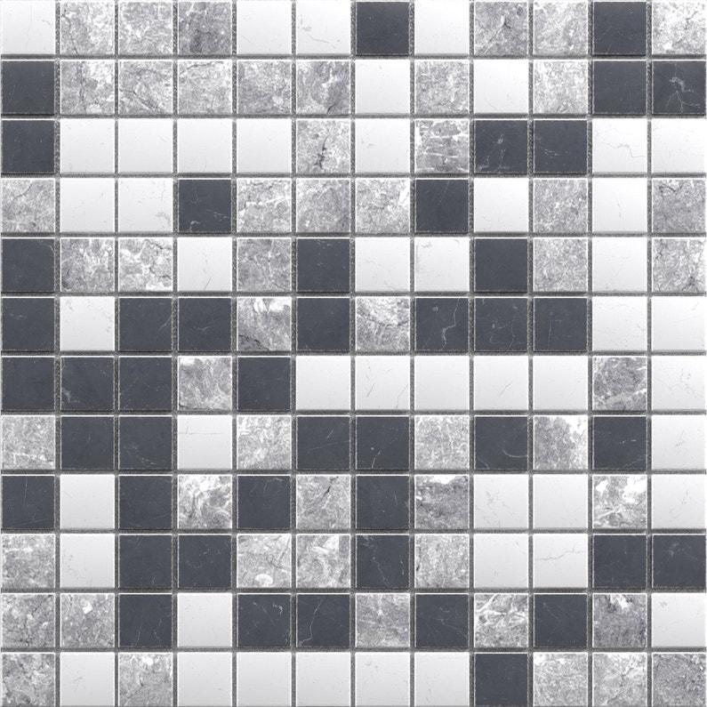 Mosaïque sol et mur Mineral marbre noir, blanc et gris 2.3 x 2.3 cm