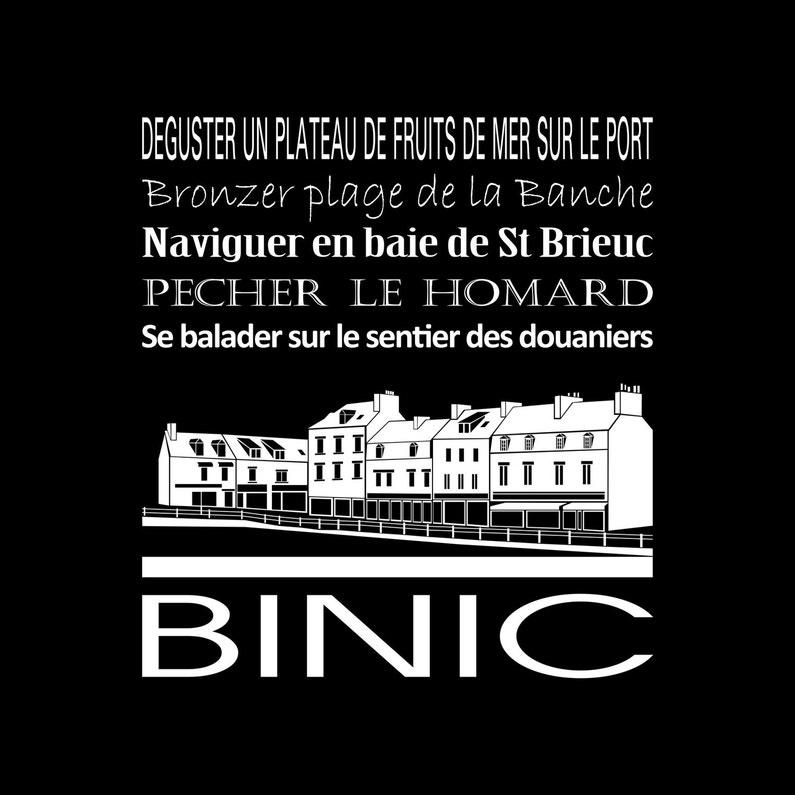 Toile Imprimée Binic Noir Artis L30 X H30 Cm
