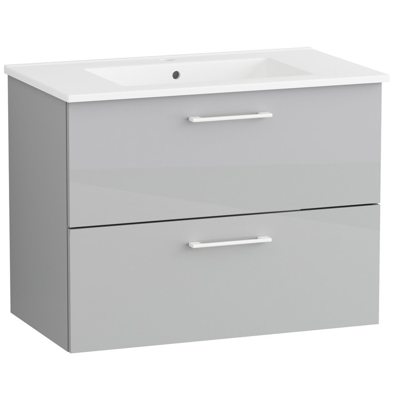 meuble sous-vasque l.80 x h.60 x p.45 cm, gris | leroy merlin