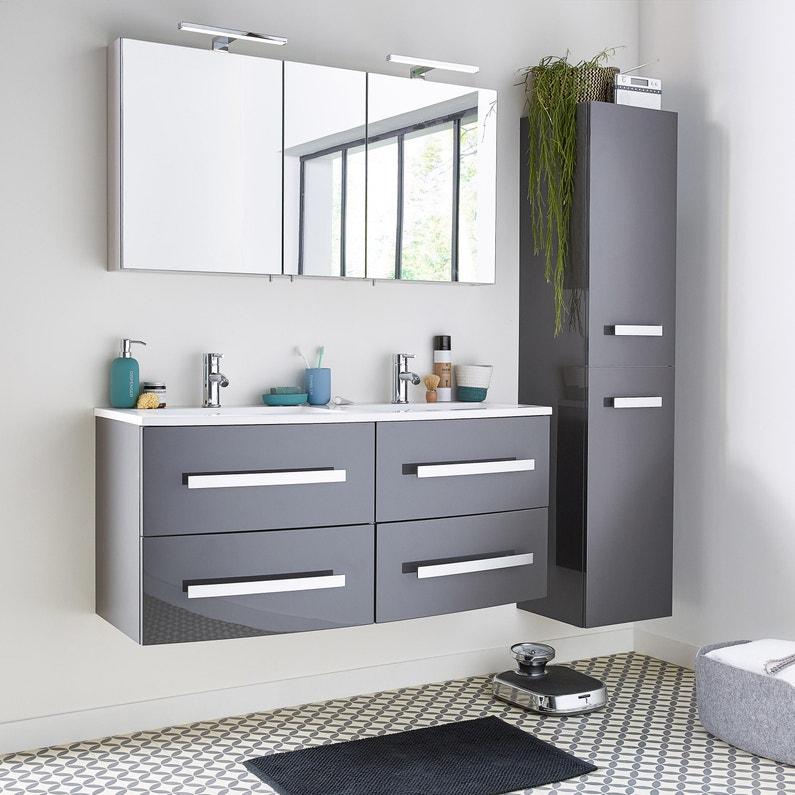 Meuble simple vasque l.121 x H.53.7 x P.47 cm, gris, Perla | Leroy ...