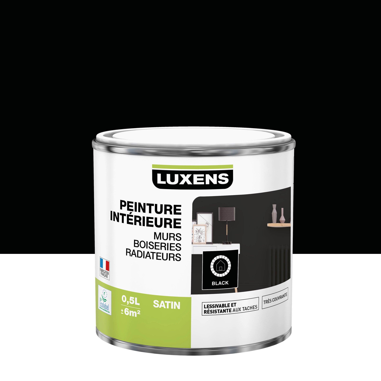 Peinture, mur, boiserie, radiateur, Multisupports LUXENS, noir, satin, 0.5