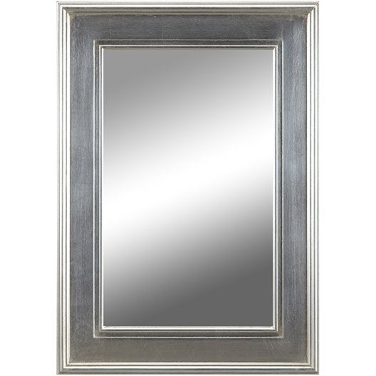 Miroir tisbury rectangle argent 50x70 cm leroy merlin for Miroir 50x70