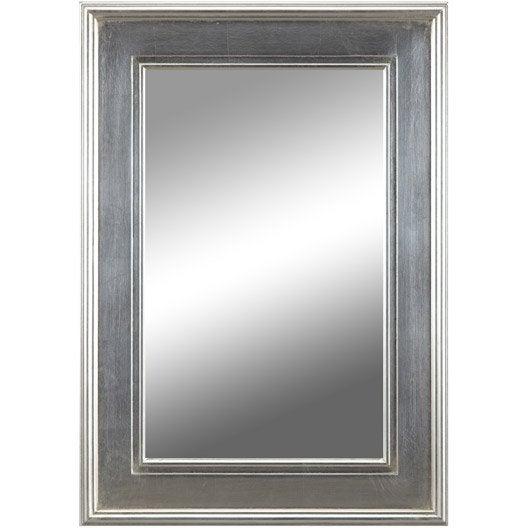 Miroir tisbury rectangle argent 50x70 cm leroy merlin for Miroir 50x70
