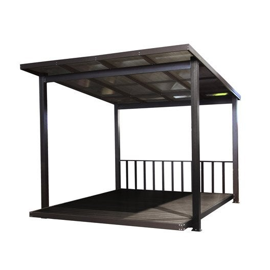 pergola autoportante aluminium marron fonc m leroy merlin. Black Bedroom Furniture Sets. Home Design Ideas