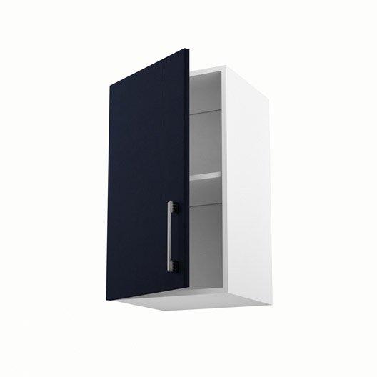 Meuble de cuisine haut bleu 1 porte topaze x x p Agencement cuisine meuble haut 40 cm hauteur