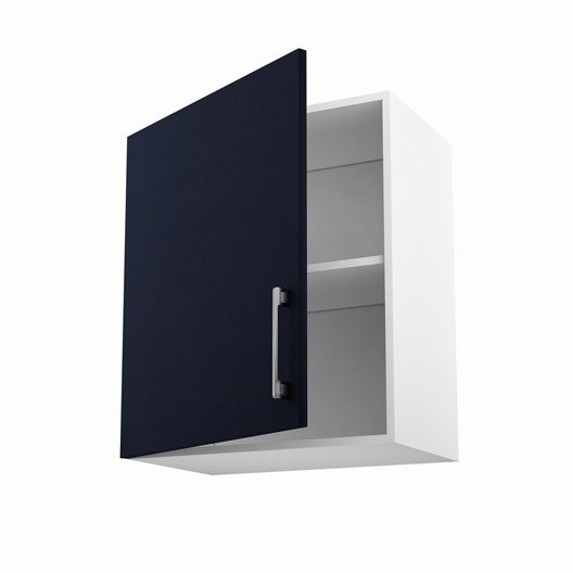 Meuble de cuisine haut bleu 1 porte topaze x x p for Meuble haut cuisine 60 x 60
