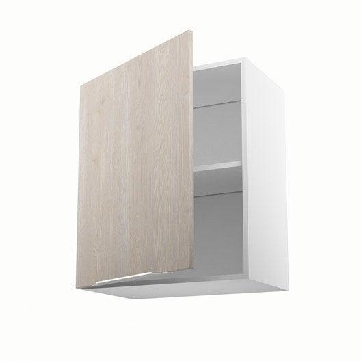 Meuble de cuisine haut d cor bois 1 porte nordik x l - Meuble haut 60 cm ...