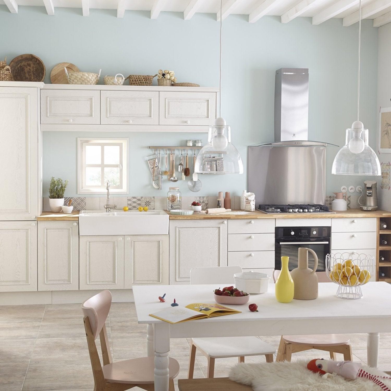 Meuble de cuisine blanc delinia cosy leroy merlin for Voir cuisine leroy merlin