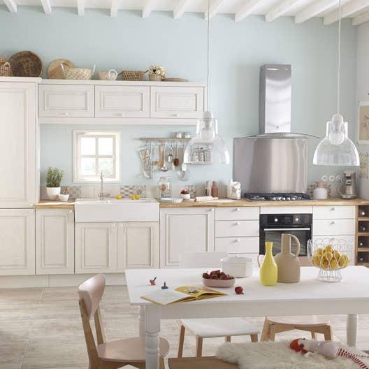 Meuble de cuisine blanc delinia cosy leroy merlin for Meuble cuisine blanc et bois