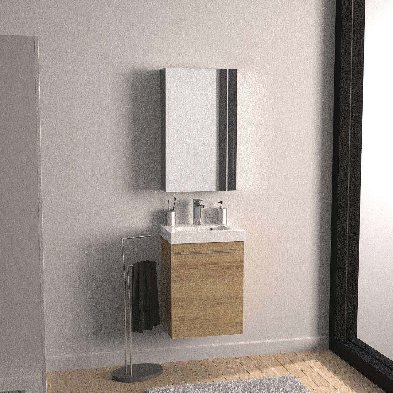 Meuble de salle de bains moins de 60 marron remix leroy merlin - Meuble salle de bain marron ...