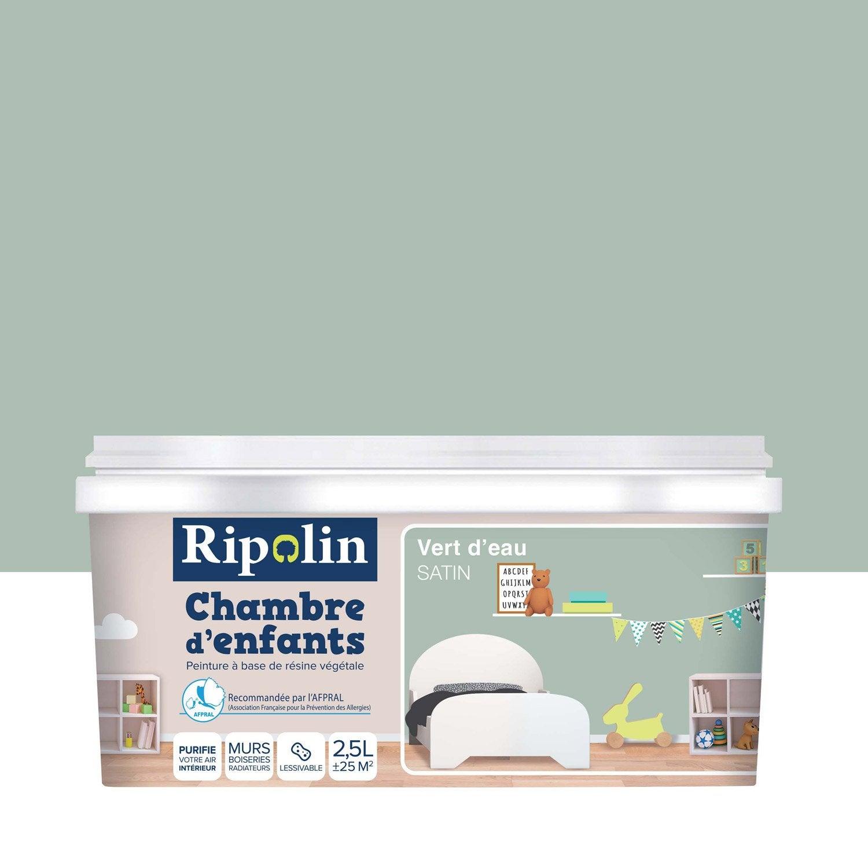 Peinture vert d\'eau satin RIPOLIN Chambre enfants 2.5 l | Leroy Merlin