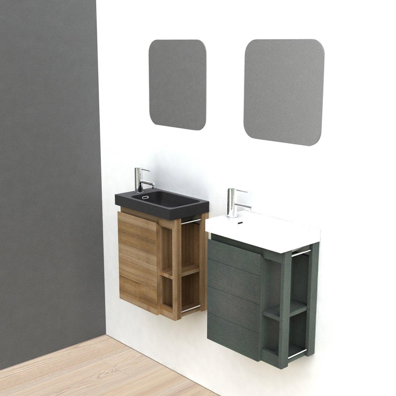Meuble lave-mains avec miroir, Noir, l.22.5 x p.40 x h.48 cm Fairway ...