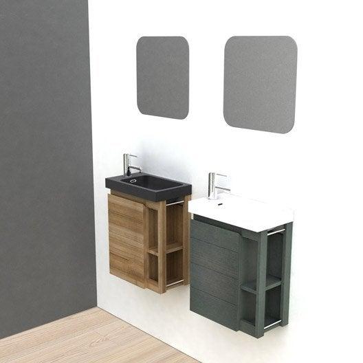 meuble lave mains avec miroir noir x x. Black Bedroom Furniture Sets. Home Design Ideas