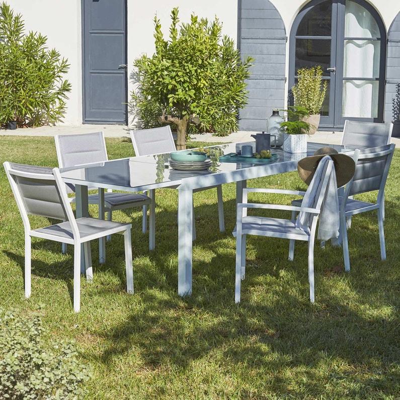 Table de jardin de repas NATERIAL Lisboa rectangulaire blanc 8 personnes