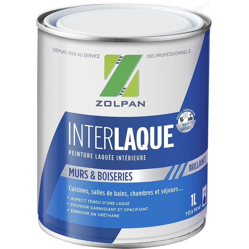 Peinture Zolpan Mur Plafond Et Boiserie Inter Laque Blanc Brillant 1 L