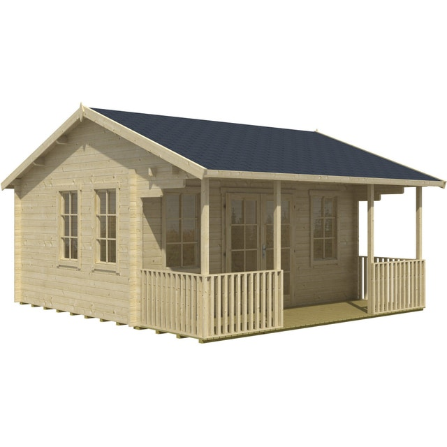 un grand abri de jardin gris bleu leroy merlin. Black Bedroom Furniture Sets. Home Design Ideas