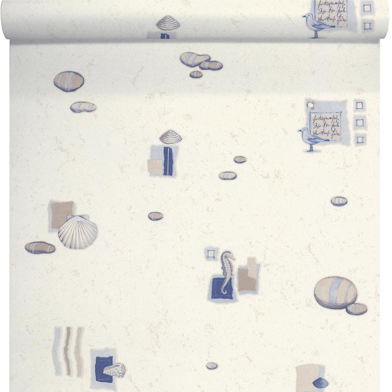 Papier Peint Marin Bleu Beige Intisse Cuisine Et Bain Leroy Merlin