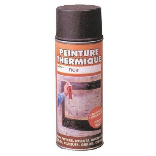 Peinture thermique noir mat pyrofeu a rosol de 400 ml leroy merlin for Peinture bois noir