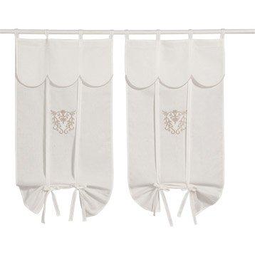 paire de vitrages charme blanc 45x90 cm. Black Bedroom Furniture Sets. Home Design Ideas