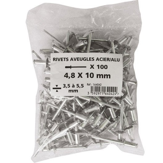 lot de 100 rivets acier aluminium leroy merlin. Black Bedroom Furniture Sets. Home Design Ideas