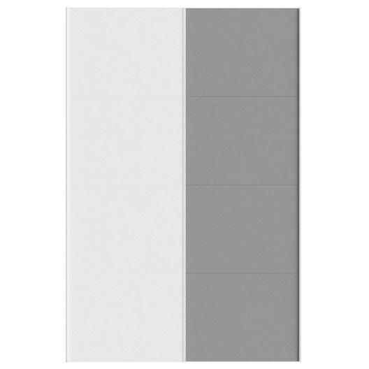 Lot de 2 portes coulissantes spaceo home 240 x 160 x 15 cm blanc leroy merlin - Porte coulissante 240 cm hauteur ...