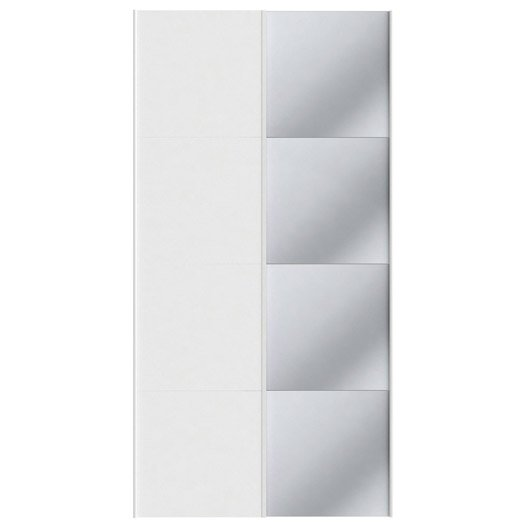 Lot de 2 portes coulissantes blanc spaceo home x l for Porte coulissante 240 cm hauteur