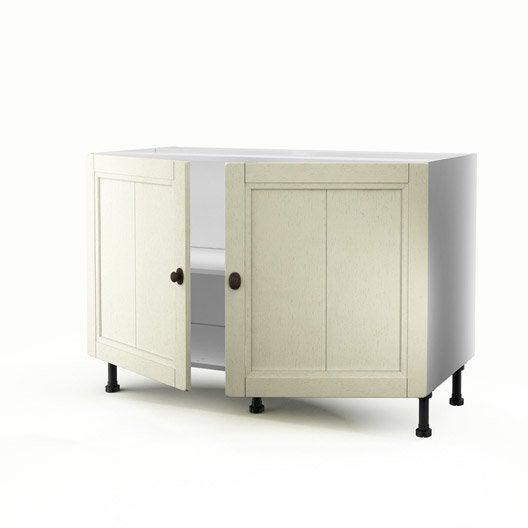 meuble de cuisine sous vier beige 2 portes tradition x x cm leroy merlin. Black Bedroom Furniture Sets. Home Design Ideas
