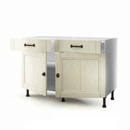 meuble de cuisine bas beige 2 portes 2 tiroirs tradition. Black Bedroom Furniture Sets. Home Design Ideas