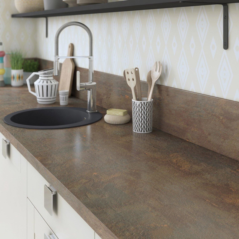 Plan De Travail Stratifié Effet Cuivre Mat L X P Cm Ep Mm - Installation plan de travail cuisine