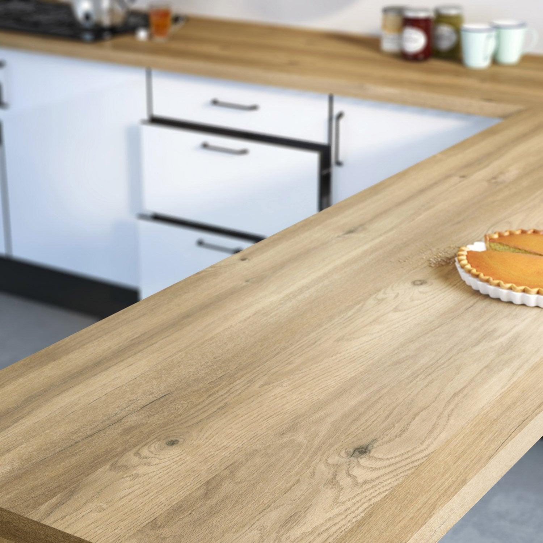 Plan De Travail Stratifié Bois Inox Au Meilleur Prix Leroy - Plan de travail d angle pour cuisine