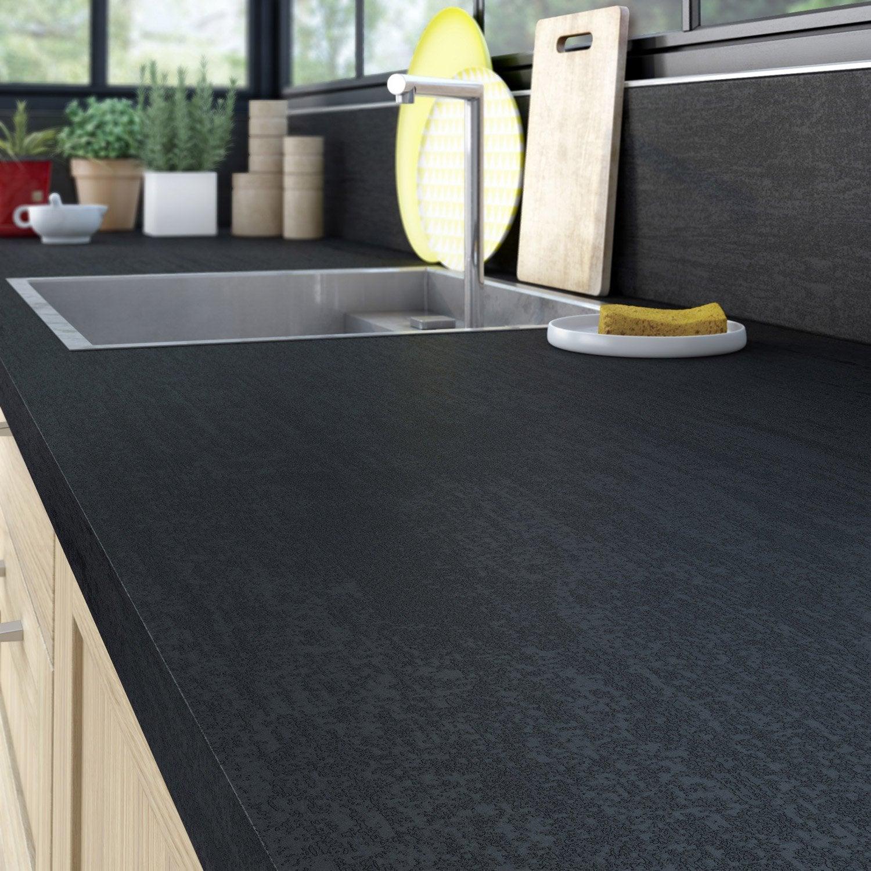 Plan de travail stratifié Effet métal noir Mat L.50 x P.50 cm, Ep ... - Leroy Merlin Plan De Travail Cuisine