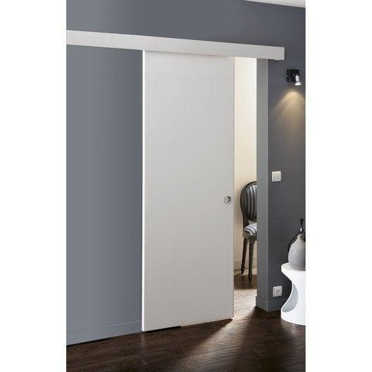 Ensemble porte coulissante isoplane avec le rail zumba en for Meuble salle de bain porte coulissante blanc