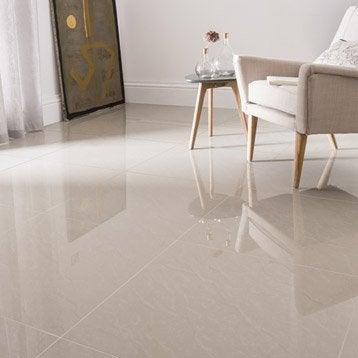Carrelage sol et mur beige effet marbre Maderas l.60 x L.60 cm