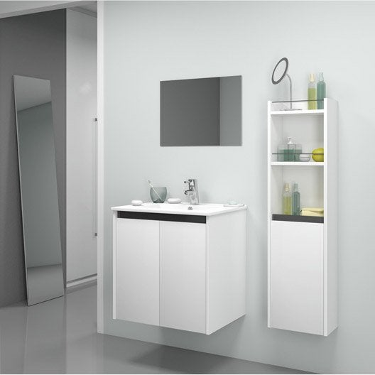 Meuble de salle de bains de 60 79 blanc beige for Porte de meuble salle de bain leroy merlin