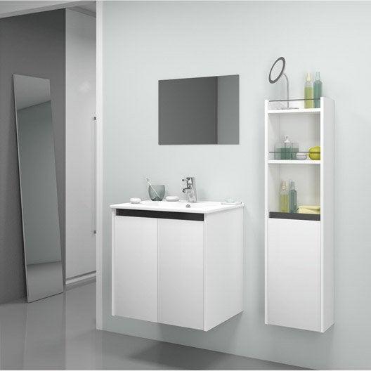 Meuble de salle de bains de 60 79 blanc beige naturels first leroy - Meuble miroir salle de bain leroy merlin ...