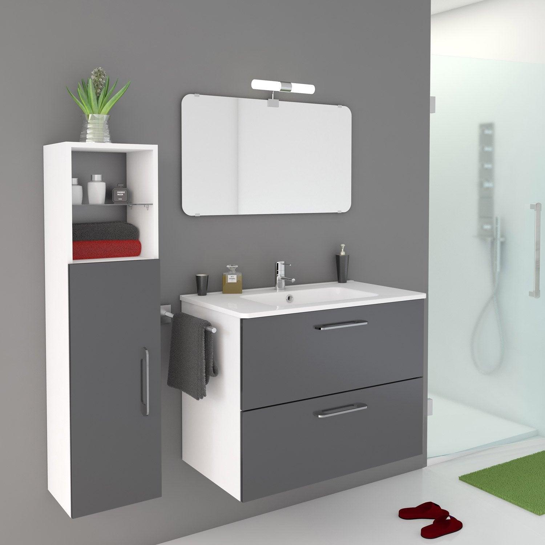 Meuble de salle de bains de 80 99 gris argent happy Meuble salle de bain italienne