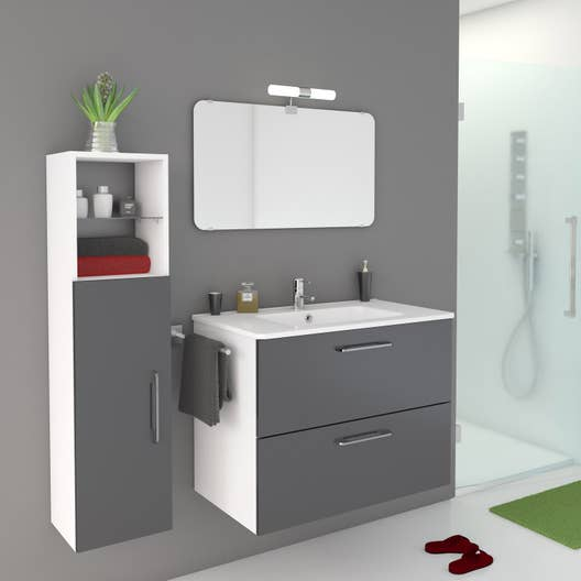 Meuble de salle de bains de 80 99 gris argent happy for Placard pour salle a manger
