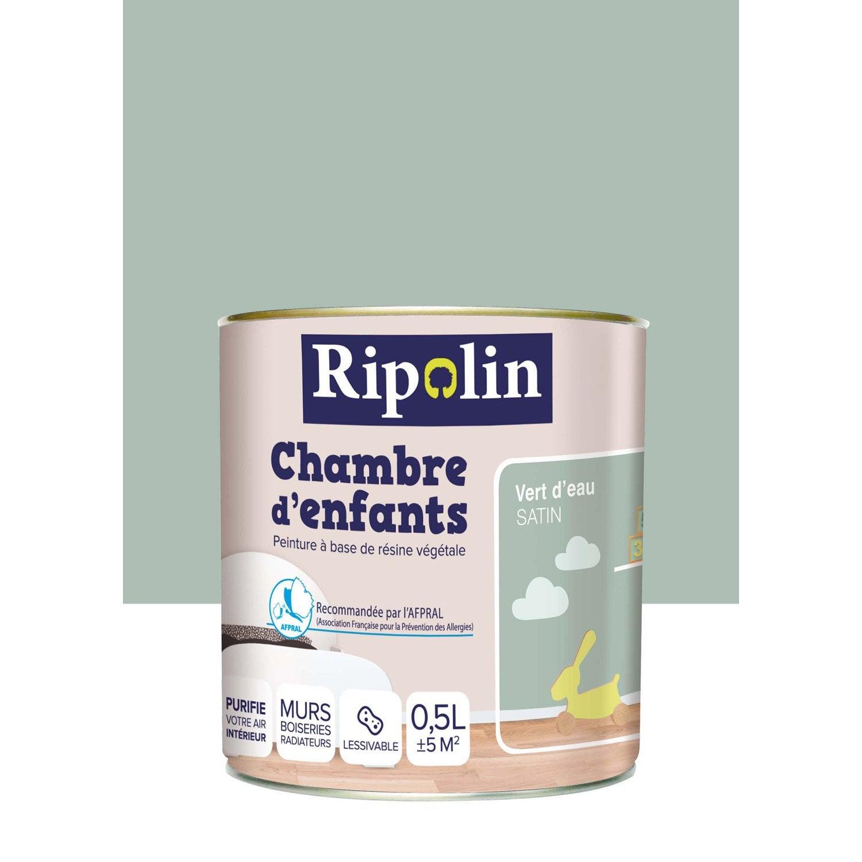 Peinture vert d 39 eau satin ripolin chambre enfants 0 5 l for Vert d eau chambre