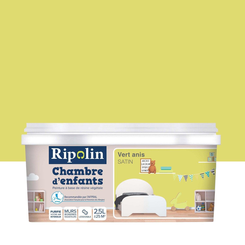 Peinture vert anis satin RIPOLIN Chambre enfants 2.5 l | Leroy Merlin