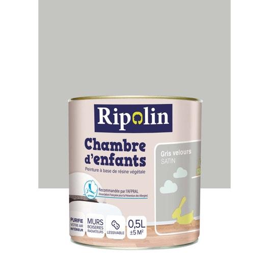 peinture gris souris satin ripolin chambre enfants 0 5 l leroy merlin. Black Bedroom Furniture Sets. Home Design Ideas