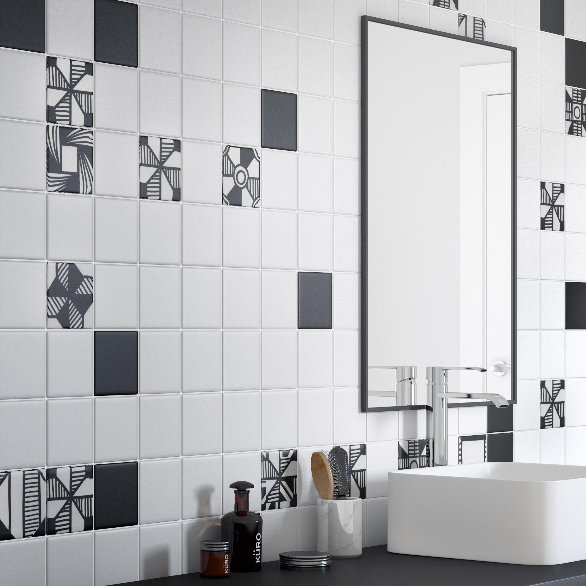 Mosa/ïque r/éseau de mosa/ïque Carr/ée pour carrelage Uni Blanc mat C/éramique pour carrelage sol douche murale miroir carrelage